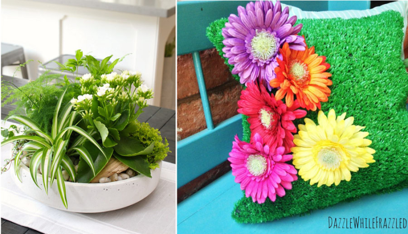 DIY-tropical-spring-planter astro-turf-pillow