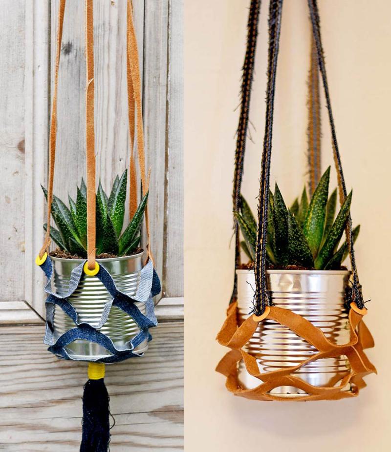 Upcycled-denimin-hanging-plant-holder