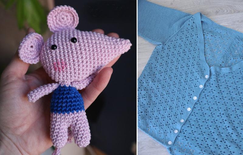 Crocheted-amigurumi-mouse crochet-cardigan