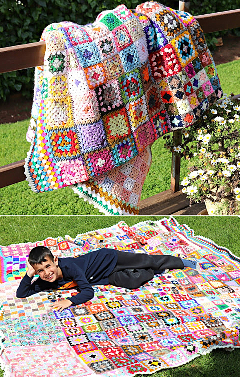 Odds-and-ends-crocheted-granny-square-blanket