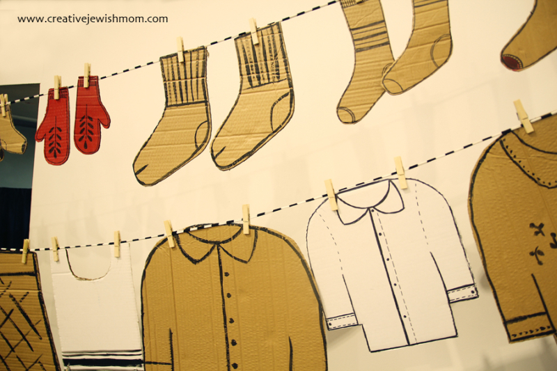 Cardboardd clothes on a line