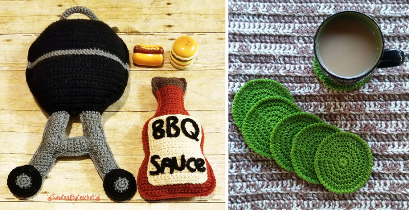 Bbq-crocheted-grill-catsup  crocheted coasters