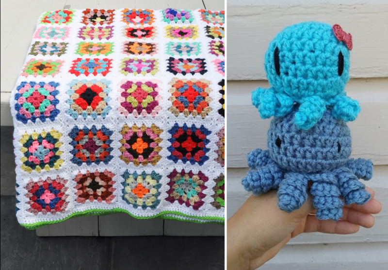 Granny-square-classic-blanket crocheted-octopus