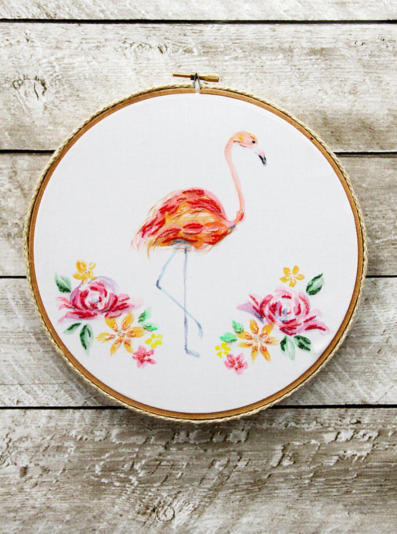Watercolor-Flamingo-Embroidery-Hoop-Art