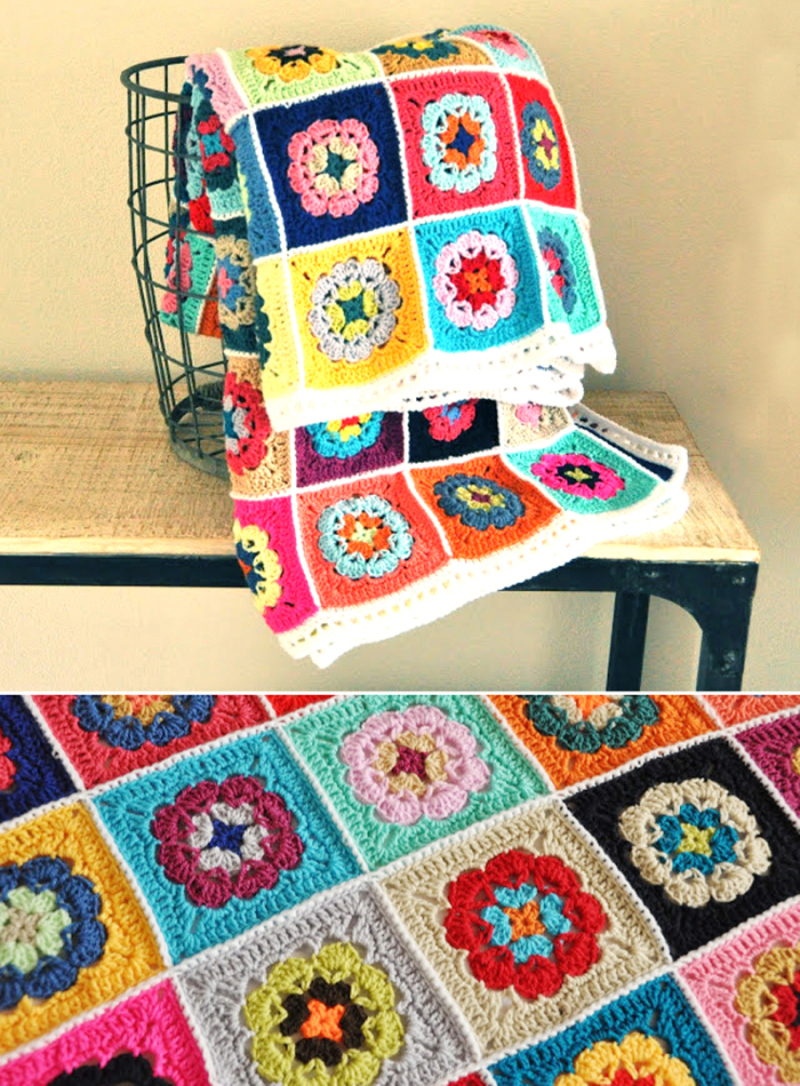 Crocheted-flower-in-a-square-granny-blanket