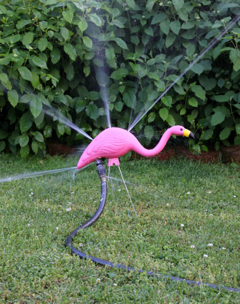 DIY flamingo sprinkler
