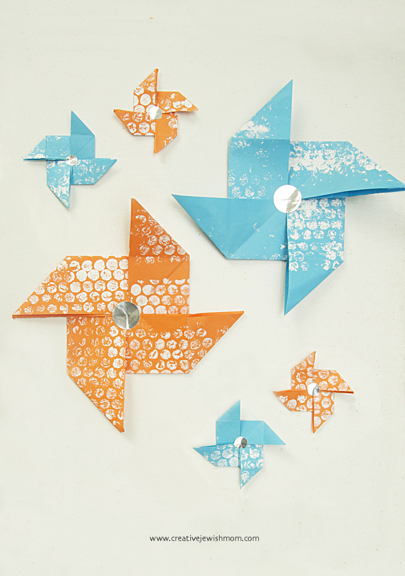 Paper-pinwheel-craft-with-stamped-paper
