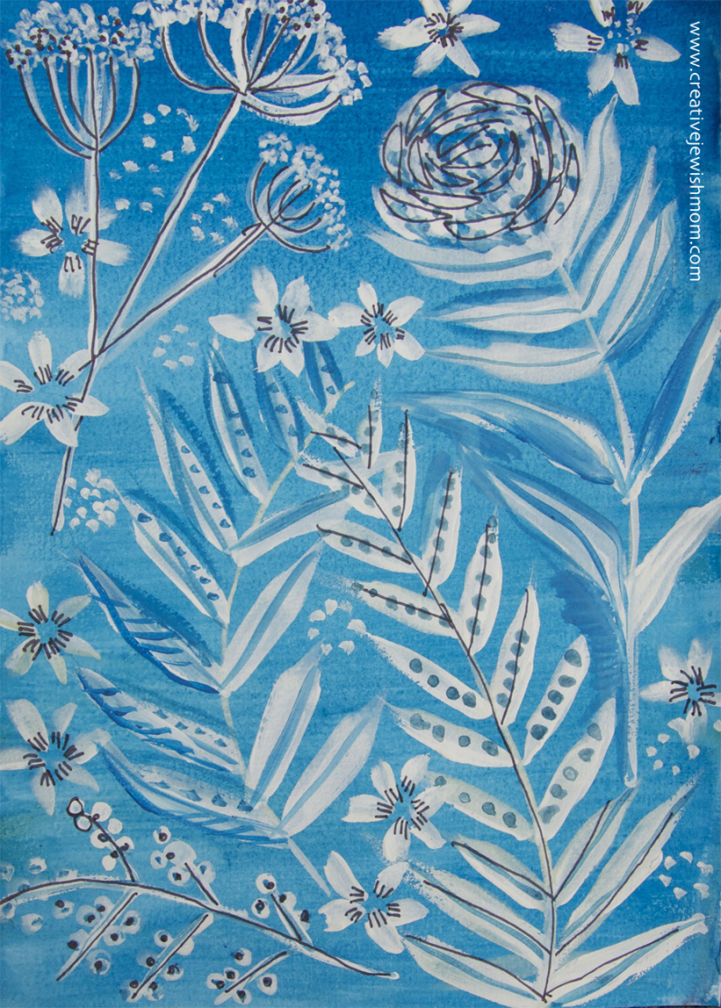 Blue-and-white-goache-floral