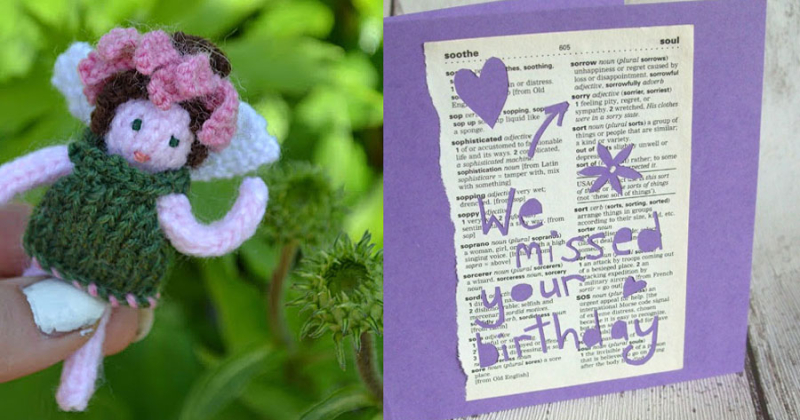 Knit-fairie-cone-flower dictionary-page-card