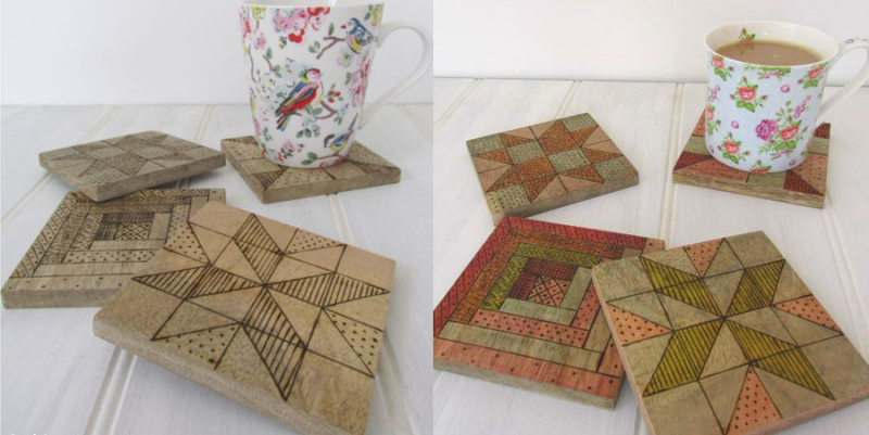 Wood-burned-quilt-square-coasters