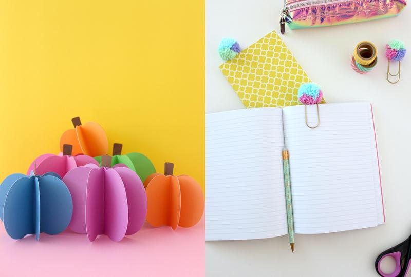 Paper-pumpkin-craft pom-pom-paper-clips
