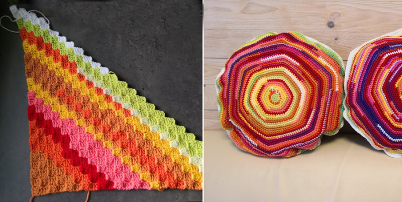 CrochetedC2C-weather-blanket crocheted-hexigon-weather-pillows