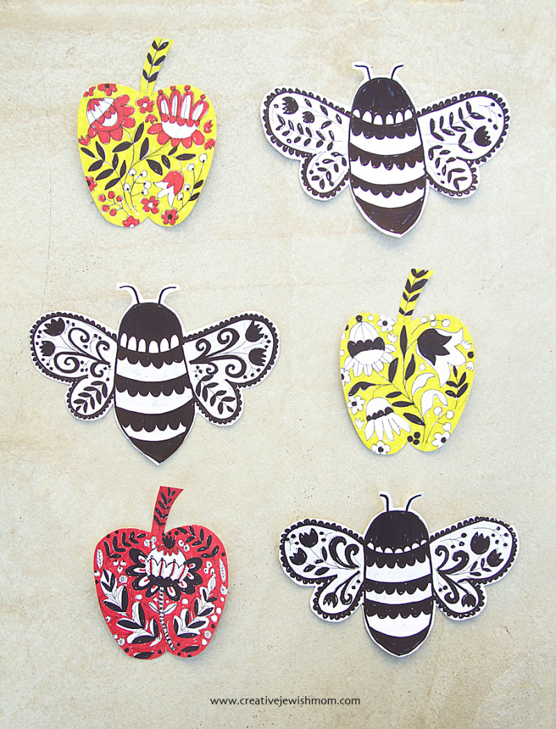 Folk-art-bees-and-apples-craft
