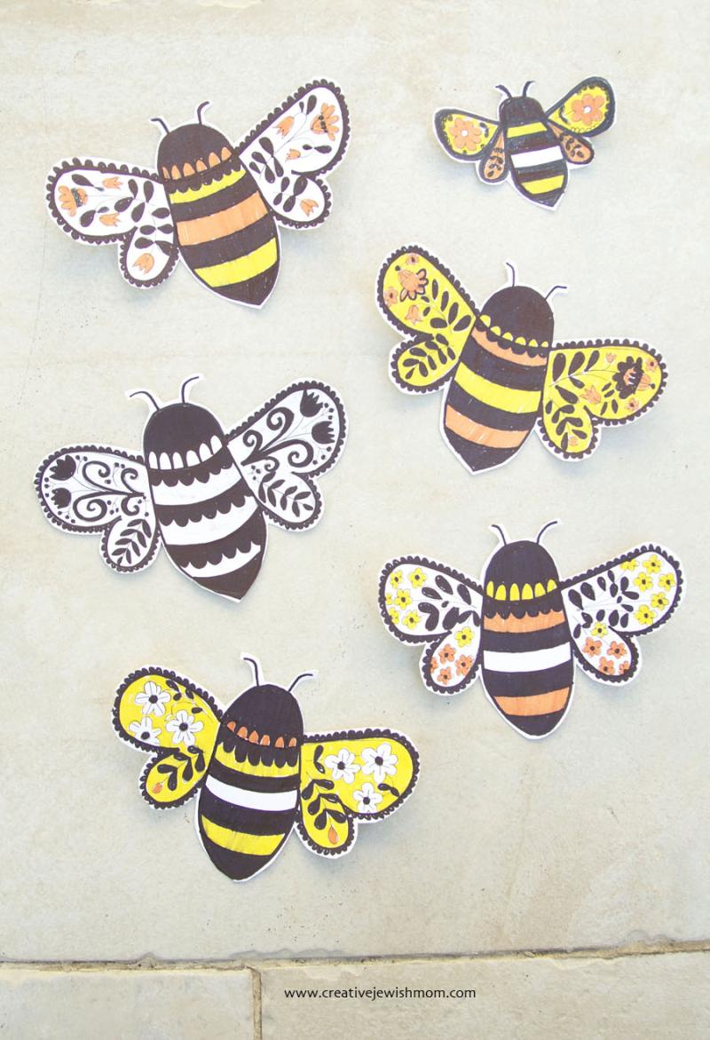 Bee-drawings-for-rosh-Hashana-craft