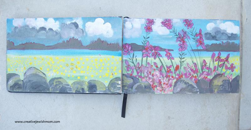 Landscape-format-sketchbook-with-gouache