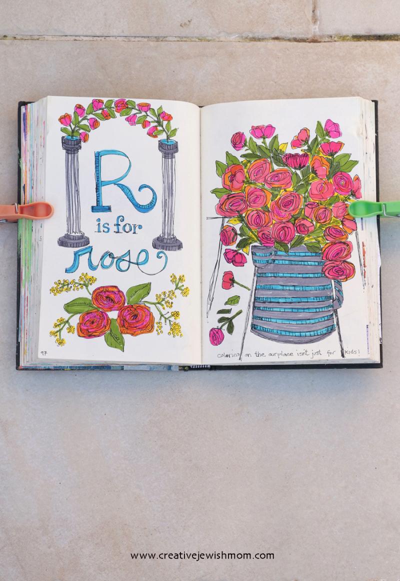 Sketchbook-pen-drawings-roses