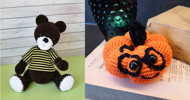Crocheted-pumpkin-with-glasses crocheted-bear-with-sweater