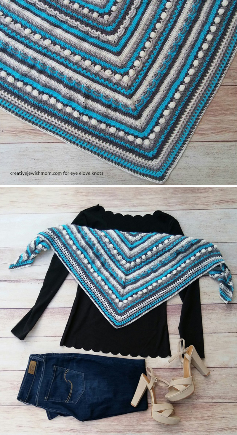 Crocheted triangular shawl stitch sampler