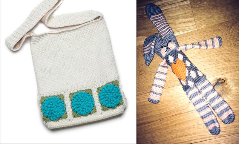 Crocheted bunny with heart hydrangea market bag