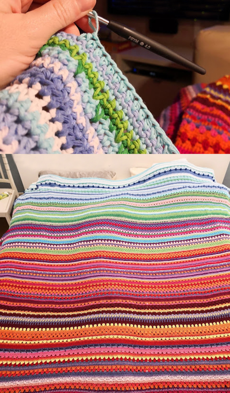 Crocheted-striped-temperature-blanket