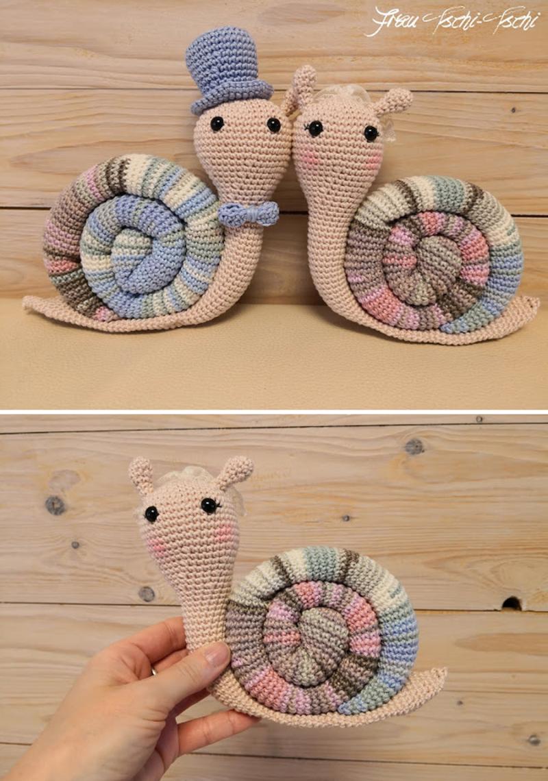 Crocheted-bride-and-groom-amigurumi-snails