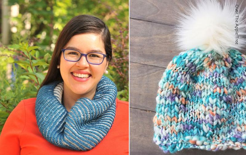 Brioche-knit-cowl hand-spun-variegated-yarn-hat