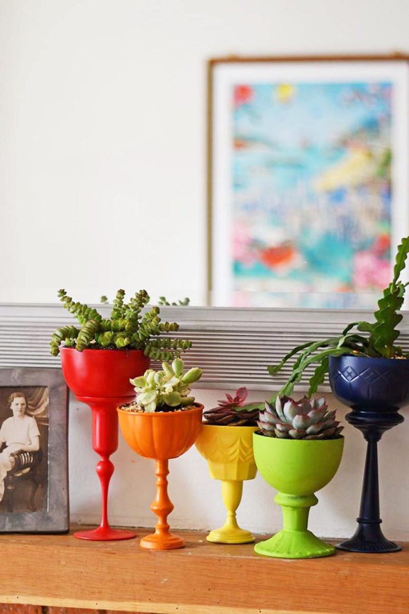 Rainbow-succulent-planters-from-vintage-goblets