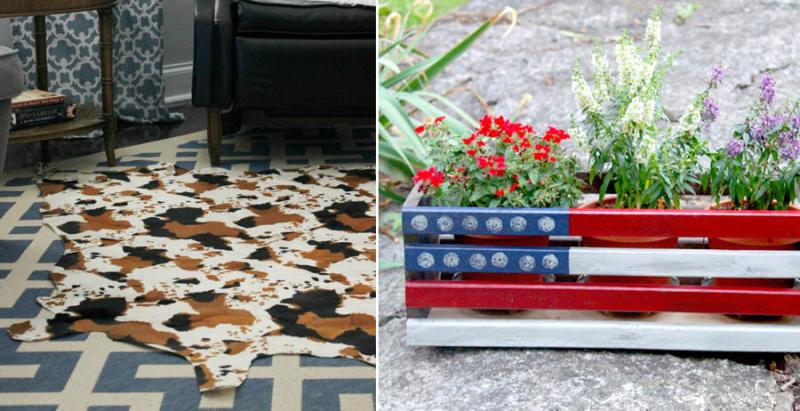DIY-cowhide-rug-flag-painted-planter