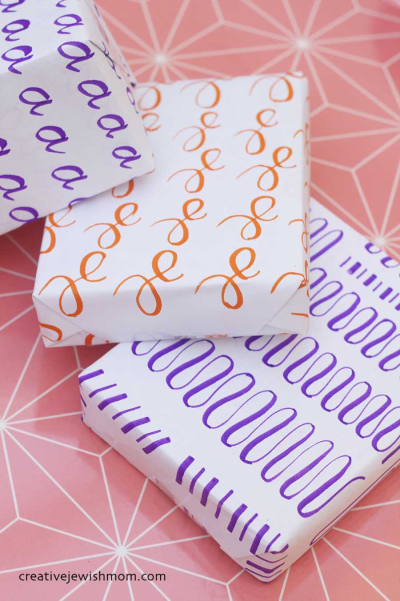 DIY-wrapping-paper-brush-lettering
