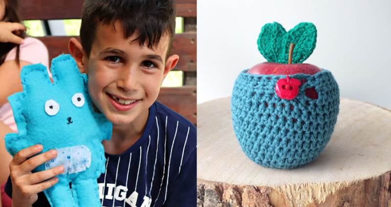 Kids-felt-softie-craft crocheted-apple-cozy