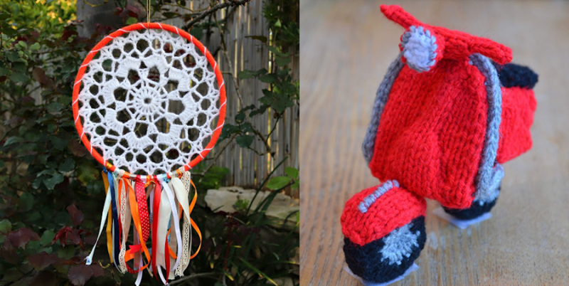 Crocheted dream catcher  knit scooter