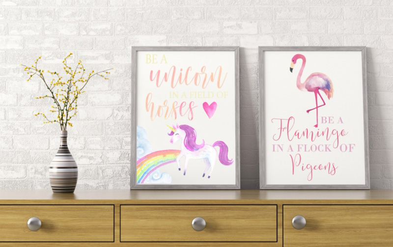 Unicorn and flamingo printables