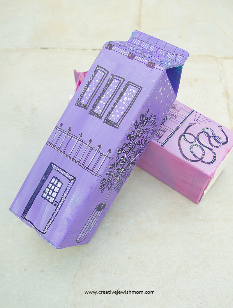 Milk carton house drawing craft