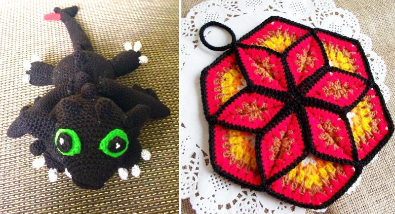 Crocheted-vintage-star-potholder crocheted-dragon