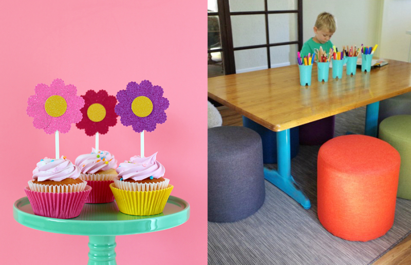 DIY-Schoolhouse-Kids-Craft-Table heart-cupcake-toppers