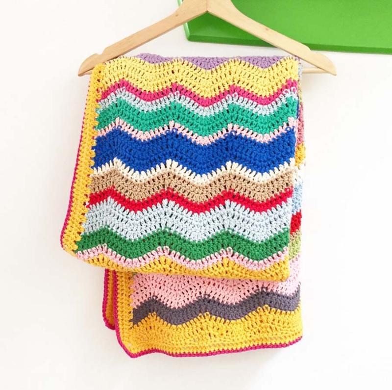 Crocheted waves baby blanket