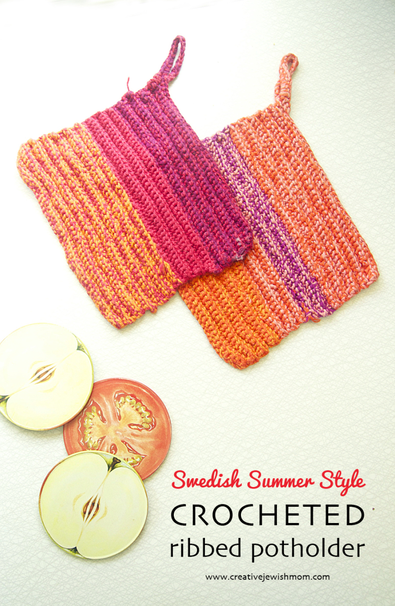 Crocheted-rib-potholders
