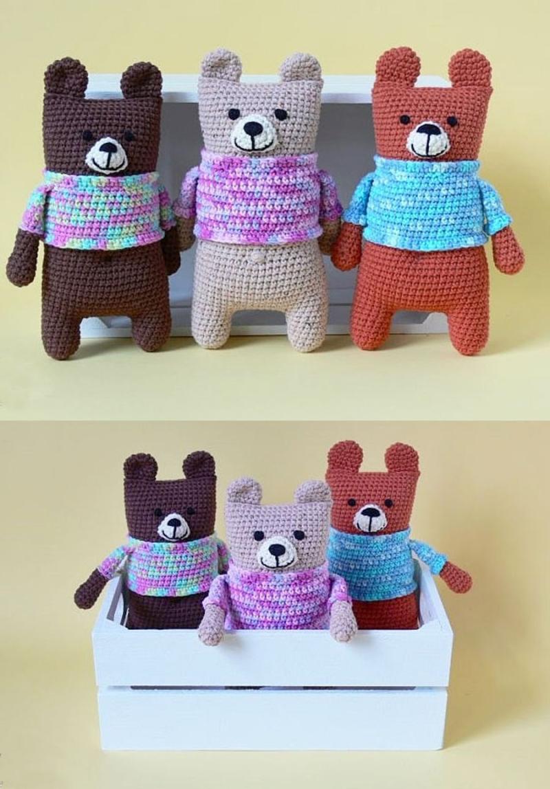 Super-simple-crocheted-flower crocheted-baby-bear-in-dress