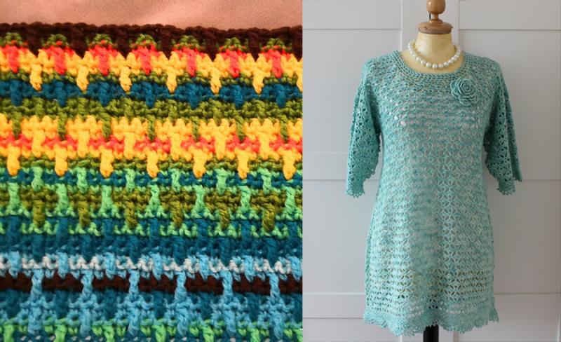 Crocheted dress crocheted lark's foot stitch