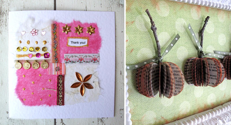 Mini-bookpage-pumpkins cards from ribbon scraps