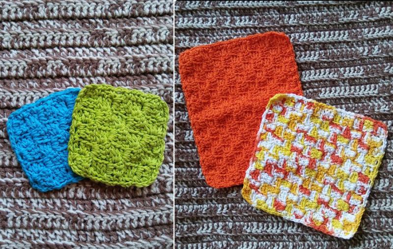 Crocheted-c2c-washcloths-coasters