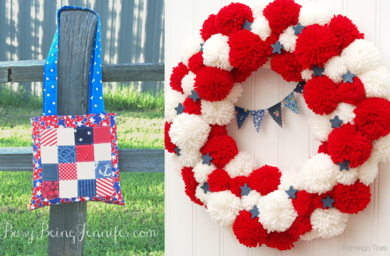 Red-white-and-blue-pom-pom-wreath