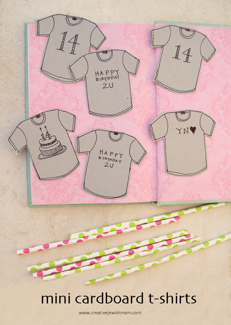 Birthday craft cardboard tshirts