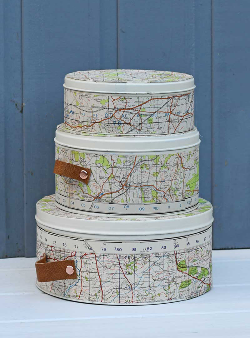 Upcycled-empty-cookie-tins-with-maps-grey-s