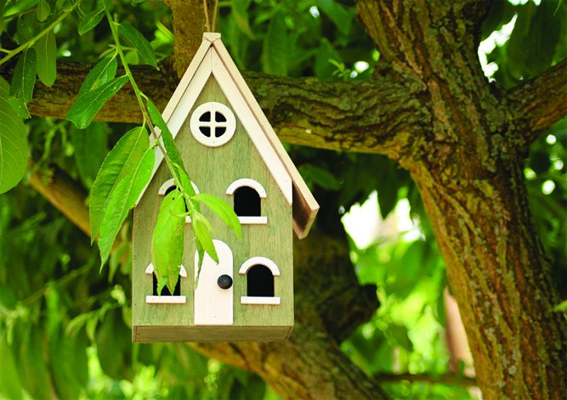 Wooden-a-frame-birdhouse