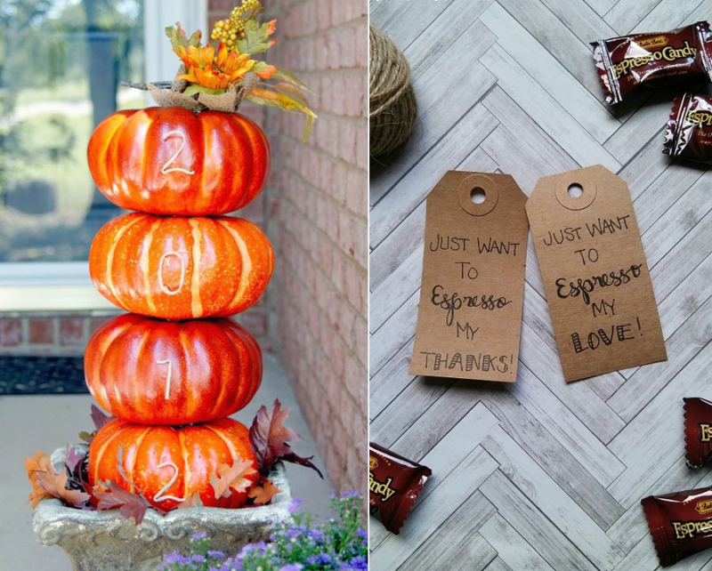 DIY house number pumpkins