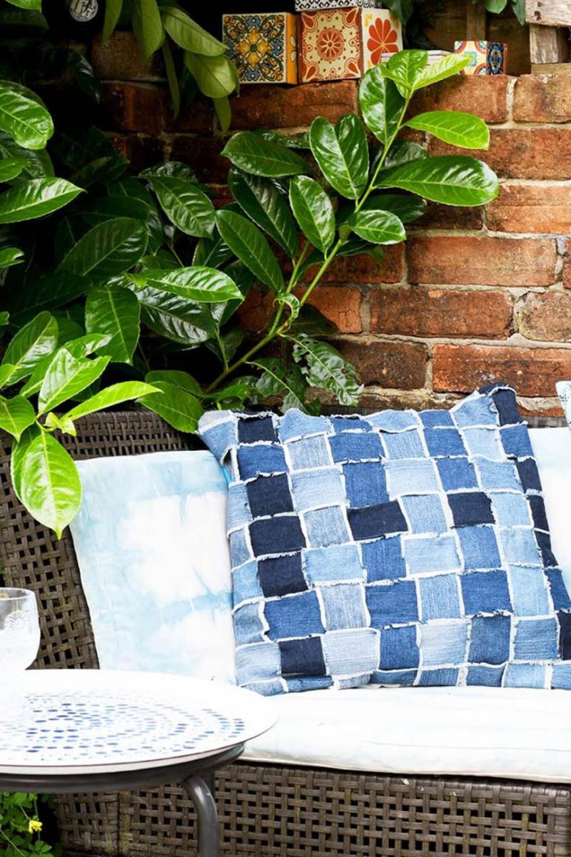 Woven-denim-strips-pillow