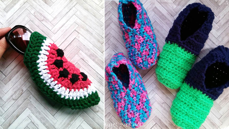 Crocheted-kid's-slippers-crocheted-watermelon-glasses-case