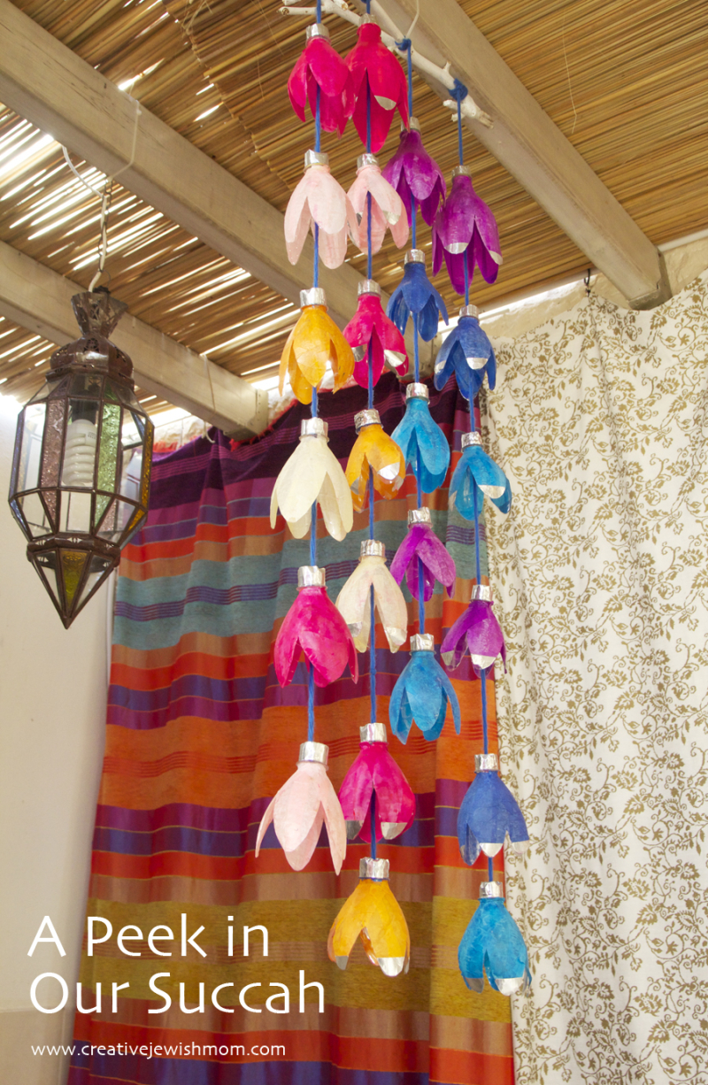 Succah-decorations-with-recycled-bottles