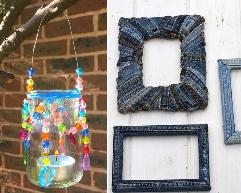 Upcycled-denim-frames hanging-beaded-jar-latern